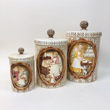 Vintage 1978 Sears & Roebuck Co Pioneer Women Ceramic Jars, Vintage 3 Piece Set, 70s Kitchen Decor, Vintage Home Decor, Made In Japan by MobyDickVintage