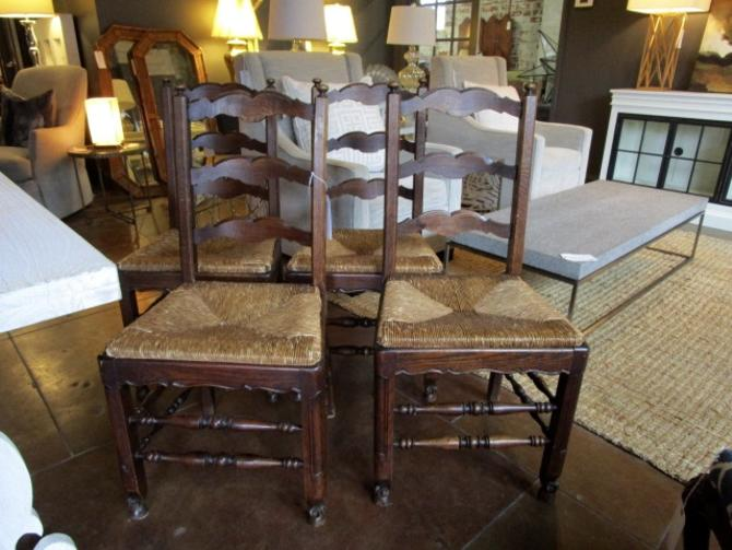 SET OF FOUR ANTIQUE COUNTRY FRENCH RUSH SEAT CHAIRS