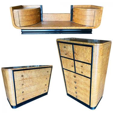 High Style Art Deco Bronze and Bird's-Eye Dresser & Vanity Set Bedroom Set by HarveysonBeverly