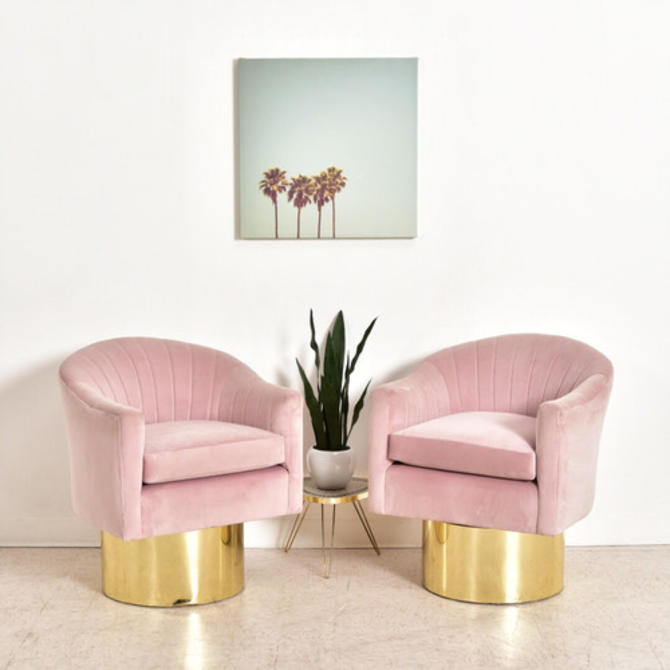 Pink Vintage Milo Baughman Swivel Chairs