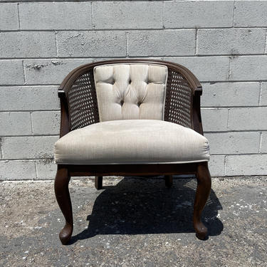 Vintage Cane Tufted Armchair Tub Barrel Back Chair Mid Century Modern Milo Baughman Style Regency Vintage Seating Bohemian Boho Chic by DejaVuDecors