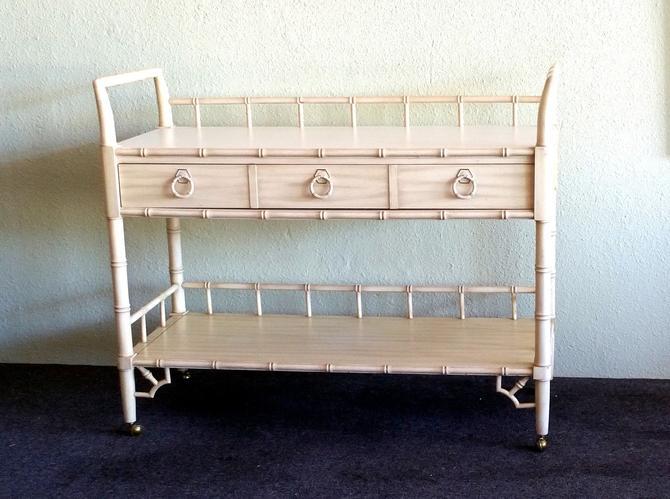 Thomasville Allegro Bar Cart / Server Faux Bamboo Fretwork Hollywood Regency by ModernPicks