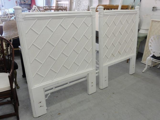 Pair of Tall Rattan Chippendale Twin Headboards