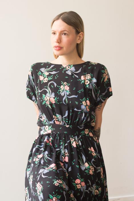 1980s Bonnie Yang Bouquet Silk Dress by waywardcollection