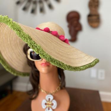 MOD Floppy Hat! • Hippie Boho Tiki Oasis Festival Hawaiian Beach Wedding Accessory • Hot Pink Pom Poms + Olive green Fringe • VTG 70s Style by elliemayhems