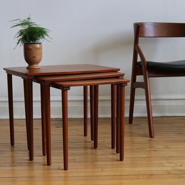 Mid Century Danish Modern Teak Nesting Tables by SpacedOutFurniture