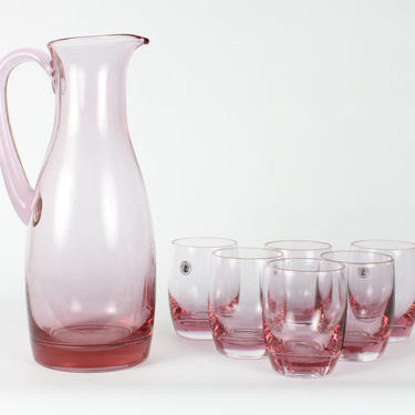 Vintage Glassware, Wine Glassware, Pink Glassware, Goblets, Home Decor, Barware, Glassware, Pink Pitcher, Pink Wine Glassware,Pink, Set of 7 by 1882BlueVintage