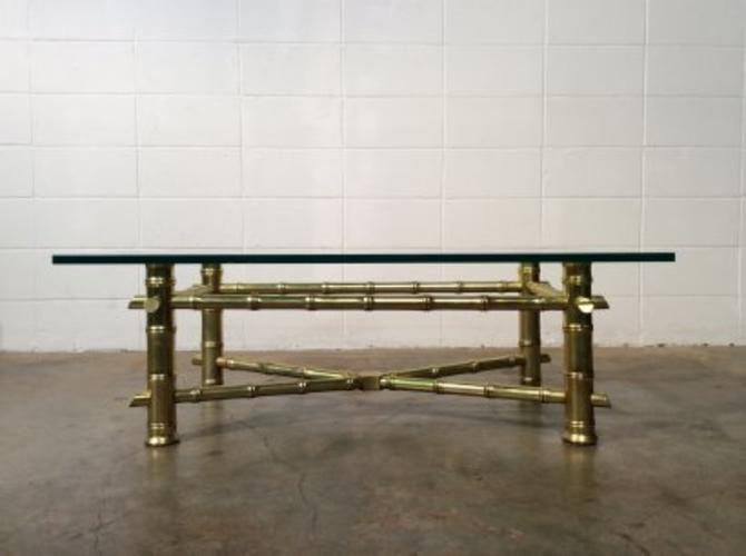Gold Gilt Faux Bamboo and Glass Coffee Table