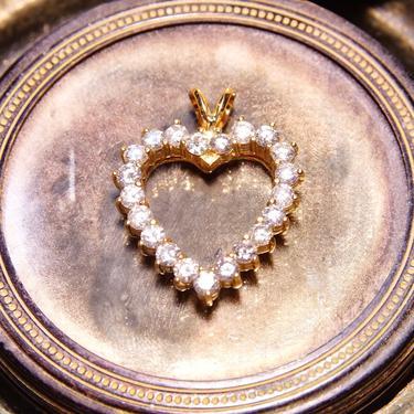 "Vintage 14K Gold Open Heart Brilliant Diamond Pendant, 21 Dazzling Diamonds, 2.1 TCW, Yellow Gold Heart Pendant, 1 1/8"" L by shopGoodsVintage"