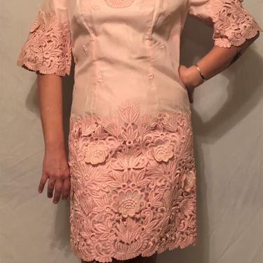 Beautiful 1960s Cotton-Candy Pink Silk Cocktail Dress w/Floral Applique and Embroidery Detail    Bell Sleeves w/Taffeta Lining    Size M by CelosaVintage