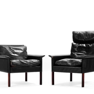 His and Hers Set of Rosewood and Vintage Black Leather Lounge Chair by Hans Olsen for CS Møbler by ABTModern