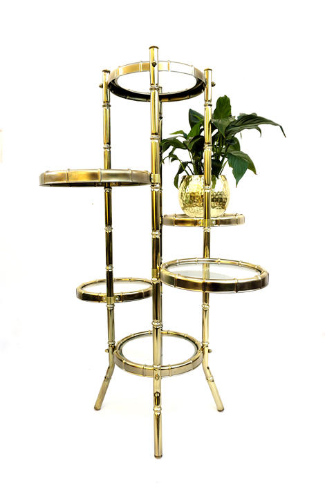 "Vtg 6-Tier Brass & Glass Faux Bamboo Plant Stand | Hollywood Regency Display/Shelves | ""Bamboo Illusions"" Original Box by Josan New York by ELECTRICmarigold"