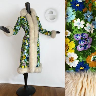 Ultimate MOD Vintage 60s 70s Hippie Coat! • Floral Fabric + Rhinestones with Genuine Shearling Lamb Fur Collar Cuffs & Trim • Spring Fall SM by elliemayhems