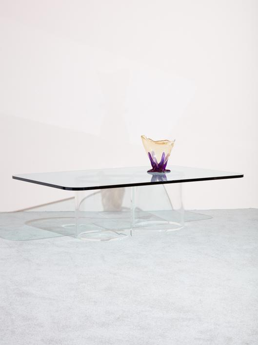 Lucite Infinity Base Coffee Table