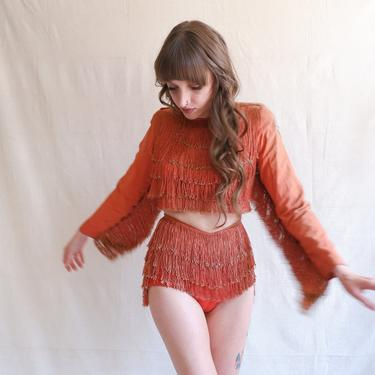 Vintage 30s 40s Fringe Dancer Costume/ 1930s 1940s Red Screen Two Piece Set/ Size XXS by bottleofbread