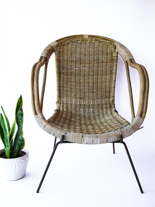 Adorable Petite Vintage Rustic Bohemian Peacock Woven Barrel Chair by PortlandRevibe