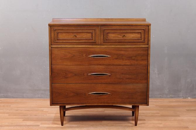 Mid Century Luxe 5-Drawer Walnut Highboy Dresser