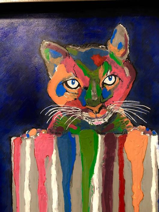 """""""Messy Meow' Original Painting Framed and signed by Artist"""