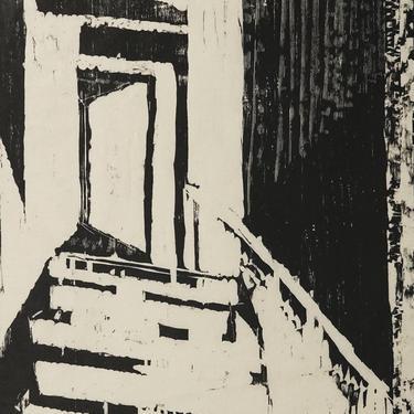 Sylvia Pollock Woodcut Print Doorway Door Stairs Vintage Art Mid Century Modern MCM MOD Black & White Woodblock AP by VintageInquisitor