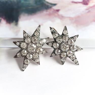 Antique Victorian 5.14ctw. Old European Cut Diamond North Star Earrings 14K Silver by YourJewelryFinder