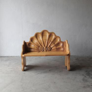 Vintage Hand Carved Wood Shell Motif Bench by AgedModern