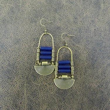 Blue sea glass earrings, chandelier earrings, statement earrings, bold earrings, etched bronze earrings, tribal ethnic earrings, chic by Afrocasian