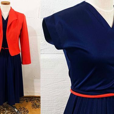 Vintage Navy Blue Dress Matthew Love Orange 60s Mod 1960s Twiggy Short MCM USA Pleated Skirt Cropped Jacket Belt Matching Large Medium by CheckEngineVintage