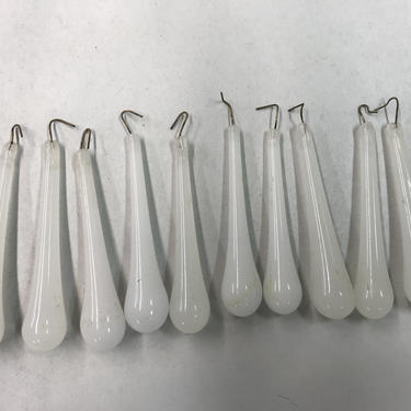 """Lot of Ten (10) Used Old Stock 3"""" White Teardrop Crystal Prisms Murano 10 Lots Available by lampslightsshades"""