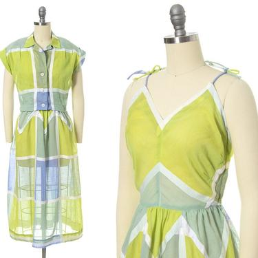 Vintage 1950s Sundress Set | 50s Color Block Windowpane Plaid Sheer Cotton Voile Lime Green Blue Day Dress & Bolero Outfit (small) by BirthdayLifeVintage