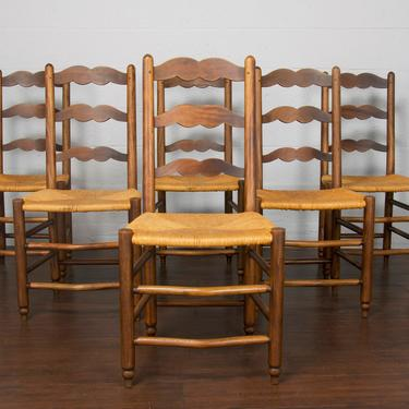 Antique Set of 6 Country French Provincial Farmhouse Ladder Back Maple Dining Chairs by StandOutSpaces