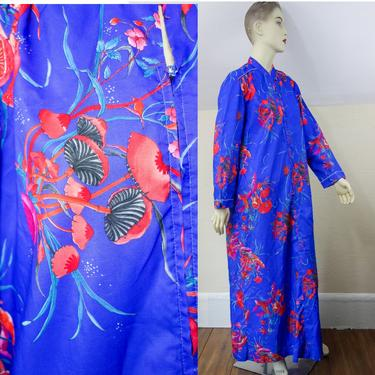 Vintage 60s hostess robe dressing gown or size medium, full length maxi kaftan lounge dress Evelyn Pearson mushroom & butterfly floral by forestfathers
