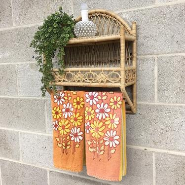Vintage Shelving Unit Retro 1980s Bamboo + Two Tier + Straw Shelving + Light Beige + Bohemian Style + Open Storage + Home Decor Furniture by RetrospectVintage215