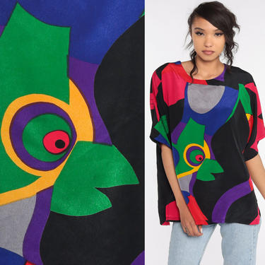 Abstract Bird Shirt Tropical Tshirt Summer Top Graphic Tee Vintage Retro T Shirt 90s Bright Blouse Small Medium by ShopExile