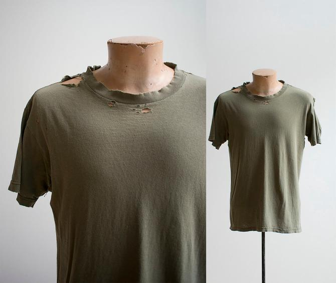 Vintage Military Tshirt / Vintage Military Tee / Broken In Tee / Vintage Thrashed Tshirt / Broken In Vintage / Worn In Tee  / Thrashed by milkandice