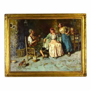 Antique Giuseppe Giardiello Italian Oil Painting Osteria Interior Musician Women Singing by PrairielandArt