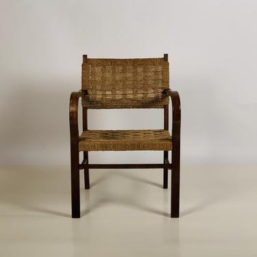 Early Bauhaus Woven Rope and Oak Armchair by Erich Dieckmann