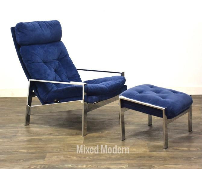 Blue Chrome Lounge Chair and Ottoman by mixedmodern1