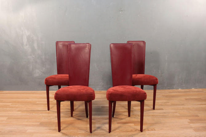 Set of 4 Cattelan Italia Red Faux-Leather Dining Chairs – ONLINE ONLY