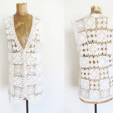 Vintage Crochet Vest S M - White Crochet Knit Vest - Duster Vest - Long Vest - Crochet Swim Cover Up - Boho Hippie - Granny Square by MILKTEETHS