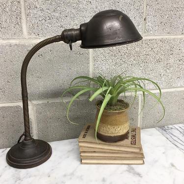Vintage Desk Lamp Retro 1940s Bryant + Elbow + Adjustable Gooseneck + Brass + Cast Iron + Industrial + Lighting + Home and Table Decor by RetrospectVintage215