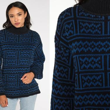 80s GEOMETRIC Sweater Esprit Sweater Mock Neck Cotton Knit Jumper Abstract 1980s Blue Black Statement Vintage Pullover Retro Large by ShopExile