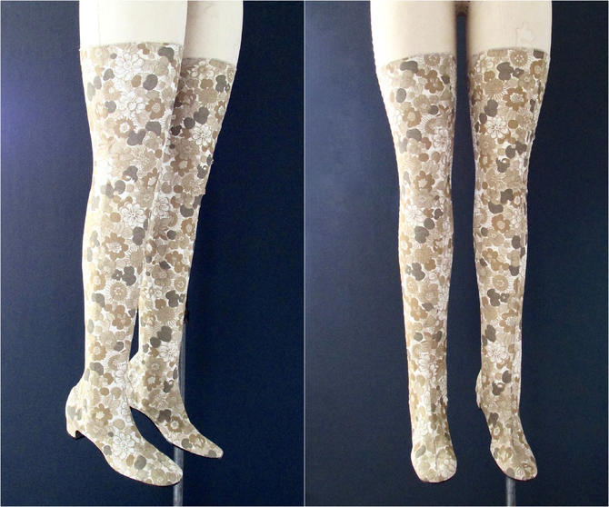 GOING THIGH HIGH Vintage 60s Chandler Floral Knit Boots, 1960s Beige Flower Power Over the Knee Boots | 70s 1970s Hippie Mod Boho | Sz 8 1/2 by lovestreetsf
