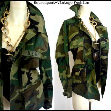 Vintage CAMO JACKET green camouflage Army Jackets Military ISSUED Button down shirt men's women's  small medium large camo coats xs s m l xl by ShopRVF
