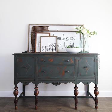 Deep Green Buffet - Chippy Painted Buffet - Antique Buffet - Dark Green - Painted Furniture - Farmhouse Decor - Vintage Buffet - TV Stand by ARayofSunlight