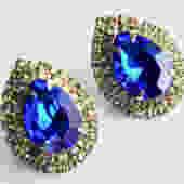 Large Blue and Clear Rhinestone Pierced Earrings by LegendaryBeast