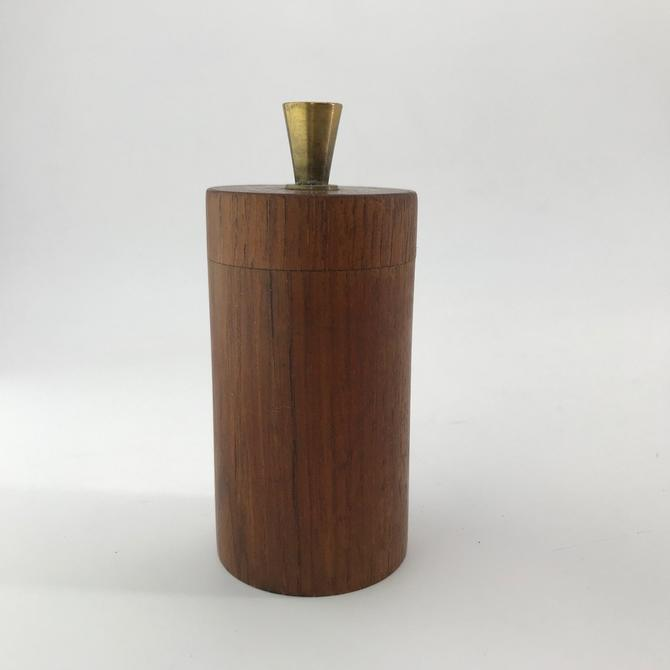Brass Teak Peugeot Peppermill Grinder Salt Pepper Unknown Designer Danish Italian 1950s 50s Vintage Mid-Century by BrainWashington