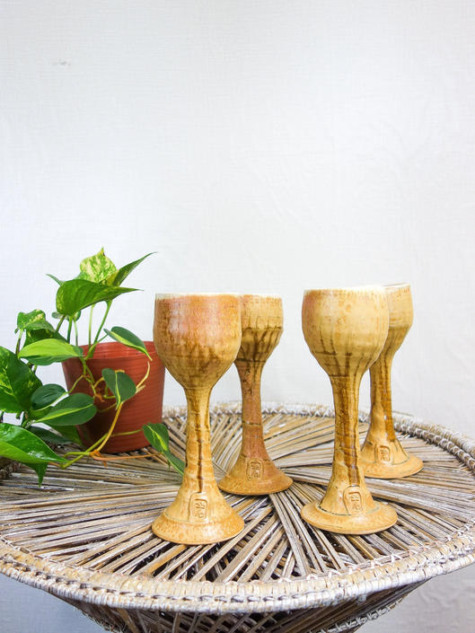 """Vintage set of 4 stoneware goblets 9"""" tall, 70s barware handmade ceramic cups drip glaze studio pottery wine glasses for hippie home decor by forestfathers"""