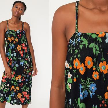 Floral Sun Dress 70s Black Terry cloth Dress Boho Summer Midi Sundress TRAPEZE Tent 1970s Bohemian Vintage Smock Hippie Extra Small xs s by ShopExile