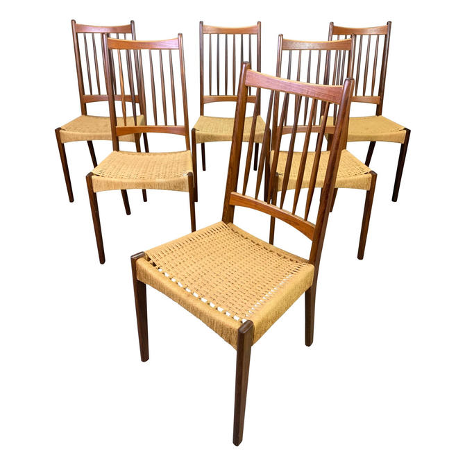 Vintage Danish Mid Century Modern Teak High Back Dining Chairs. Set of Six. by AymerickModern