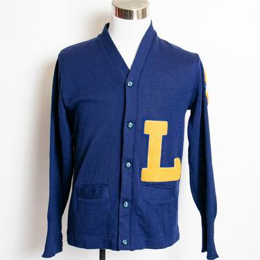 Vintage 60s Varsity Sweater Royal Blue Wool Knit Letterman Cardigan 1960s Medium by dejavintageboutique